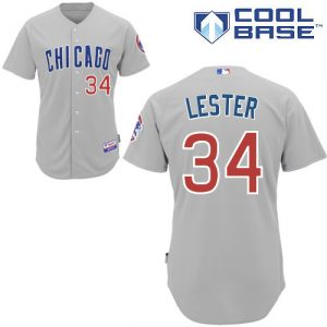 Chicago Cubs #34 Jon Lester Cool Base Grey Authentic Jerseys