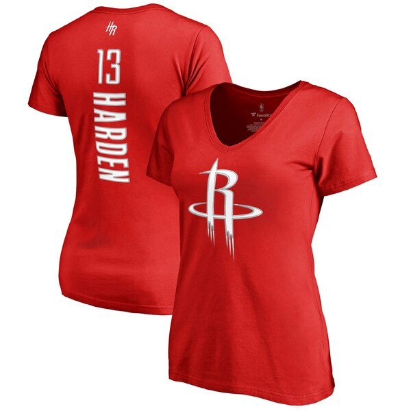 Women's Houston Rockets James Harden Fanatics Branded Red Backer Classic Fit Name & Number V-Neck T-Shirt